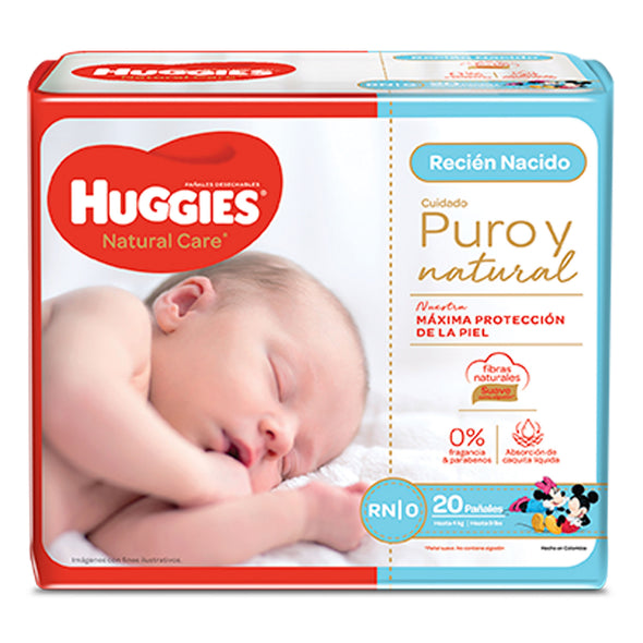 Panal Huggies Natural Care Recien Nacido 20 unid