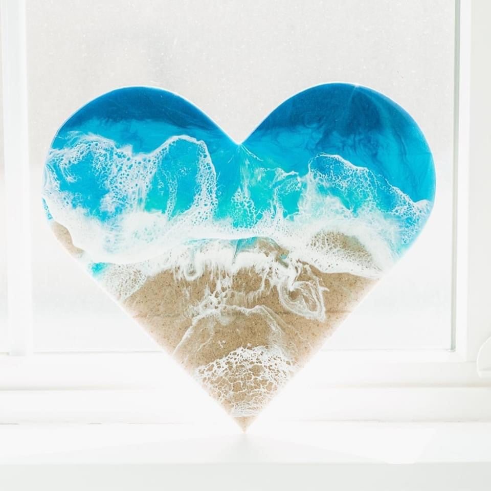 Ocean Resin Heart | Ink Art Gallery