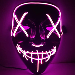 LED Mask,Glow Scary Light Up Cosplay Rave Costume Masks for Festival,Halloween,Parties,Christmas(Purple)