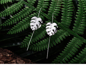 925 Sterling Silver Leaves Drop Earrings for Women