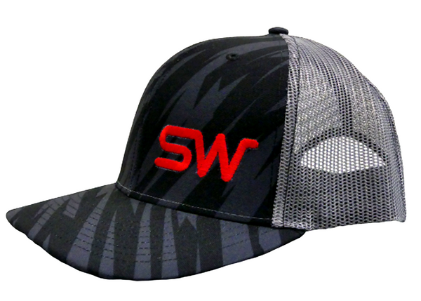 Black/Gray Striped Mesh Snapback
