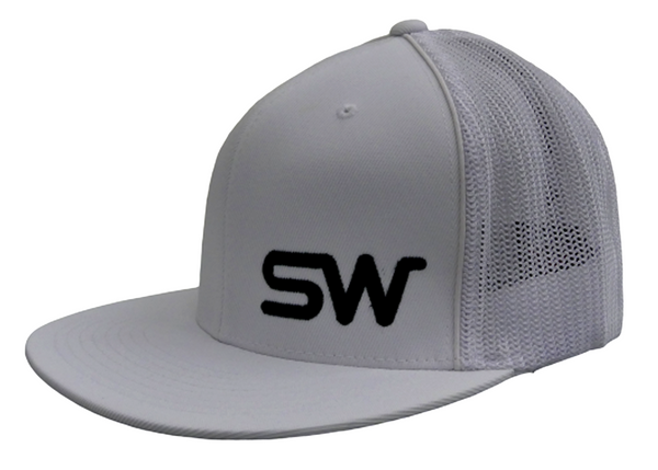 White w/Black Logo Flat Bill