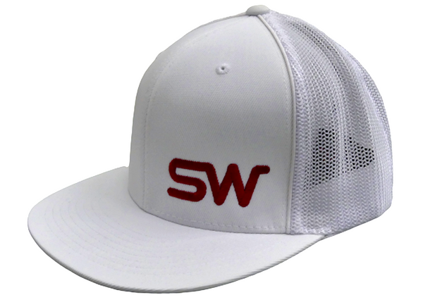 White w/Red Logo Flat Bill