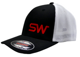 Black/White Mesh w/Red Logo