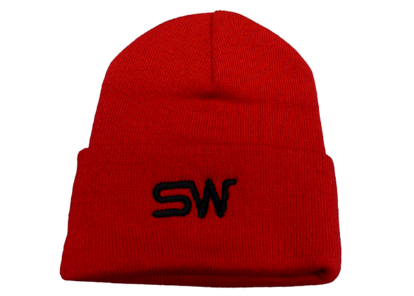 Red Beanie w/Black Logo