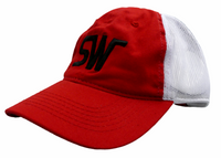 Red/White Mesh w/Large Black Logo & Velcro Strap