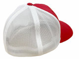 Red/White Mesh w/White Logo Flexfit