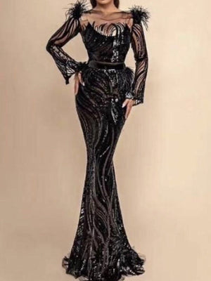 Black Long Feather Slash Neck Long Evening Dress in Montreal Canada