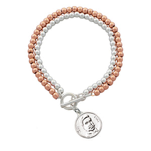Dvoenred Two-Tone Bracelet with Delcev Charm