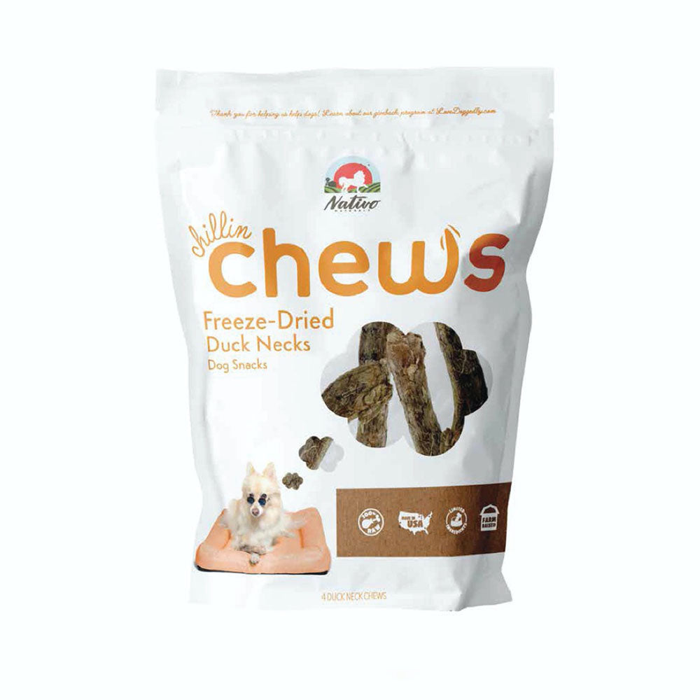 Nativo Naturals Chillin Chews Duck Necks 4pcs Freeze-Dried Dog Treats - Ethically Sourced, Made in USA - Grain & Gluten Free