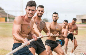 Fit Men in Tug of War
