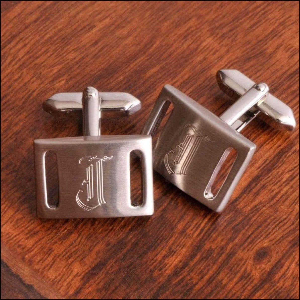 Brushed Silver Belt Buckle Cuff Links