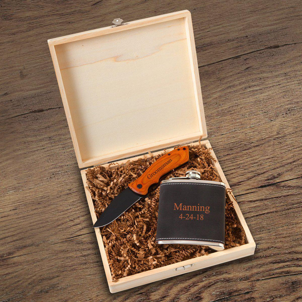 Flask and Knife Gift Box Set