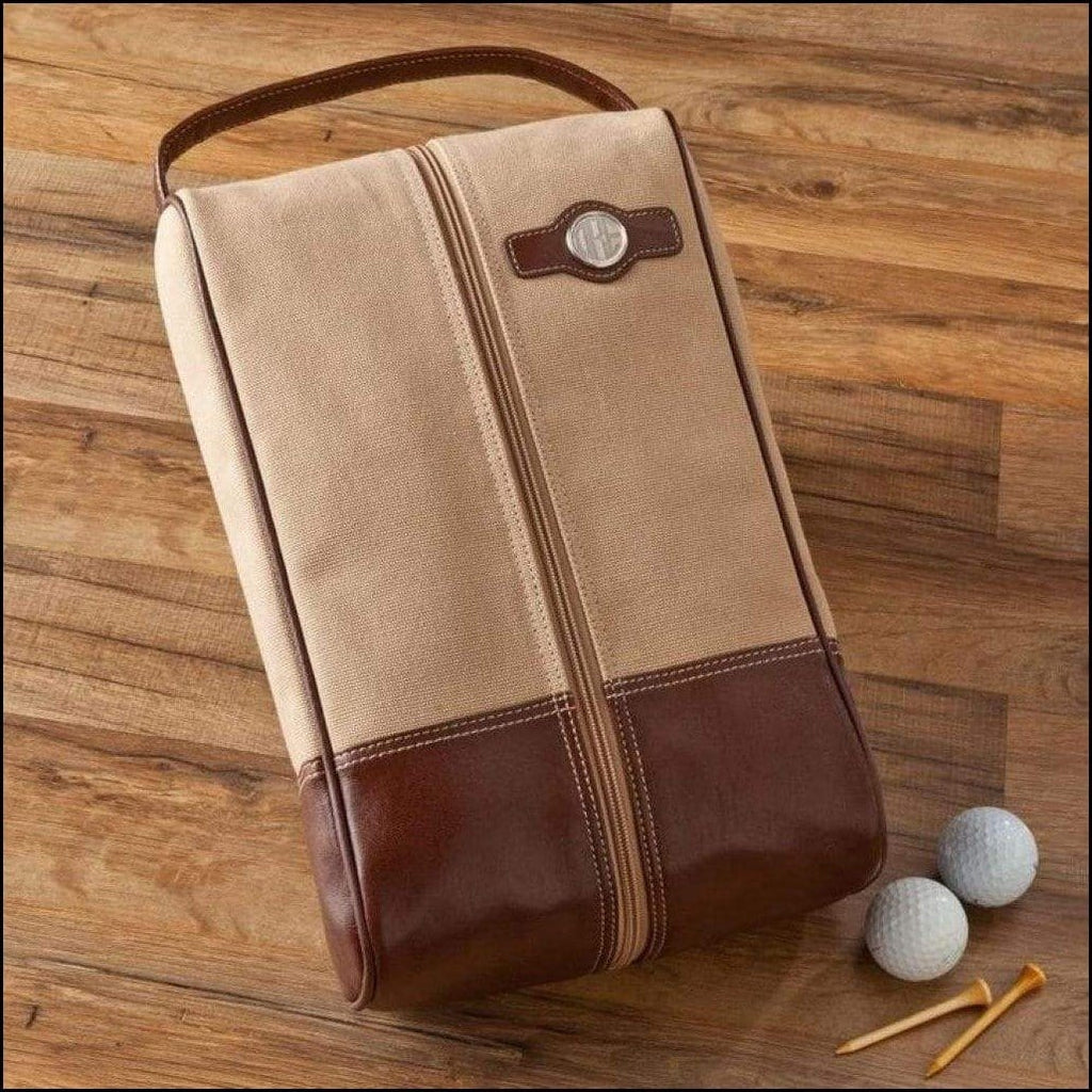 Golf Shoe Bag in Leather and Canvas