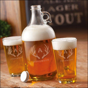 Growler w 2 Pub Glasses-Antler Design