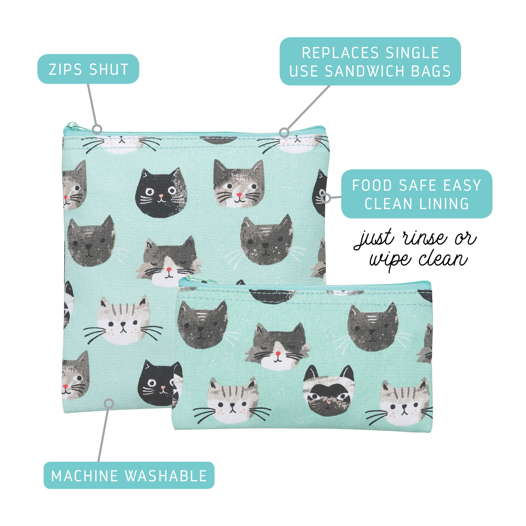 Snack Bags Set of 2 - Cat's Meow