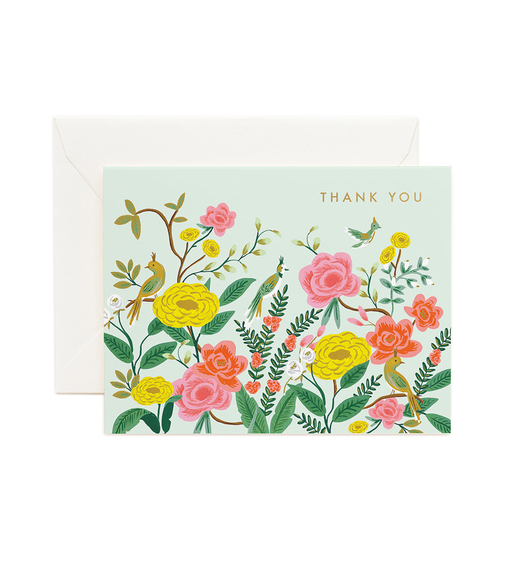 Pink & Yellow Birds  - Rifle Paper Thank You Card