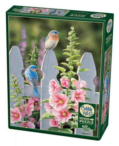 Bluebirds & Hollyhocks - 1000 piece Cobble Hill