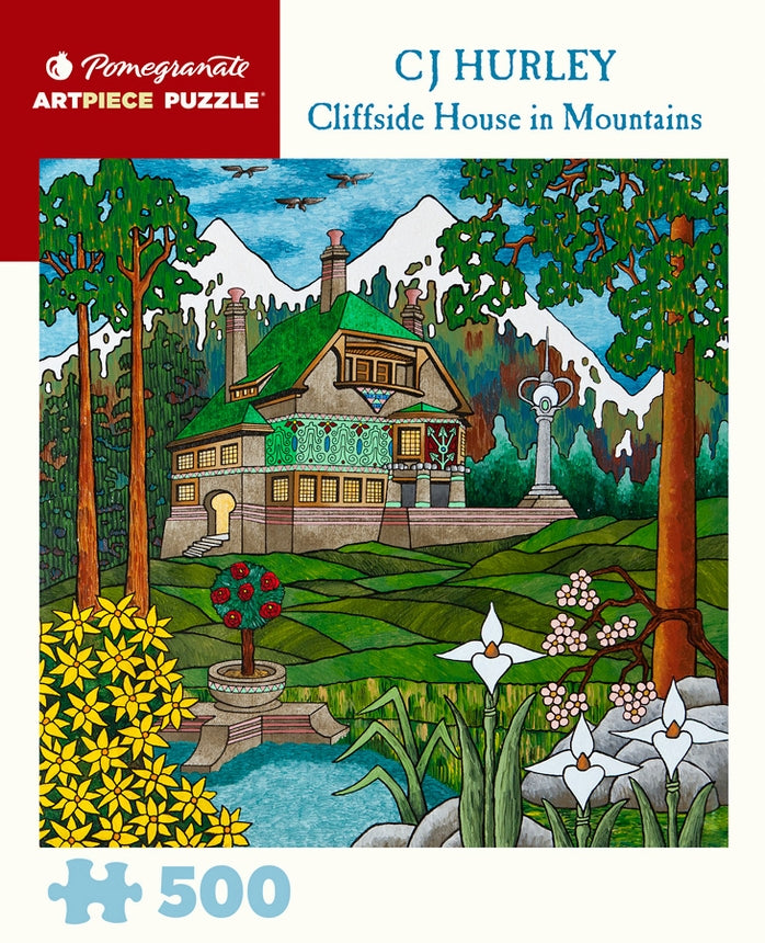 CJ Hurley - Cliffside House in Mountains 500 pc Pomegranate Puzzle