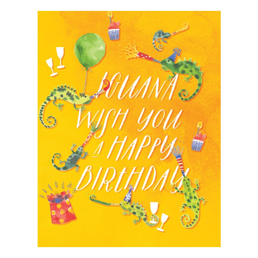 Iguana - Loose Leaves Birthday Card