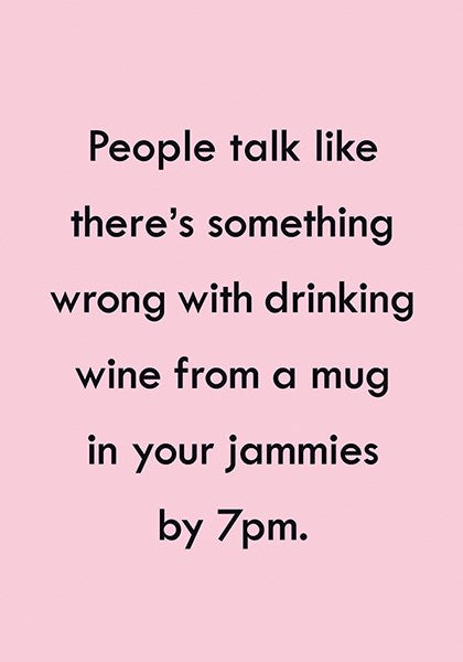 Wine from a mug - Blank Card