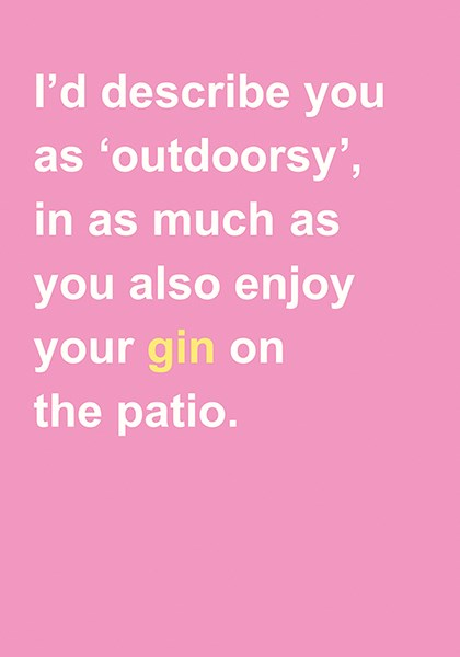 Outdoorsy Gin - Blank Card