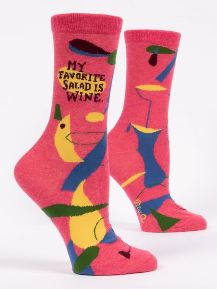 Blue Q Women's Crew Socks - My Favourite Salad is Wine