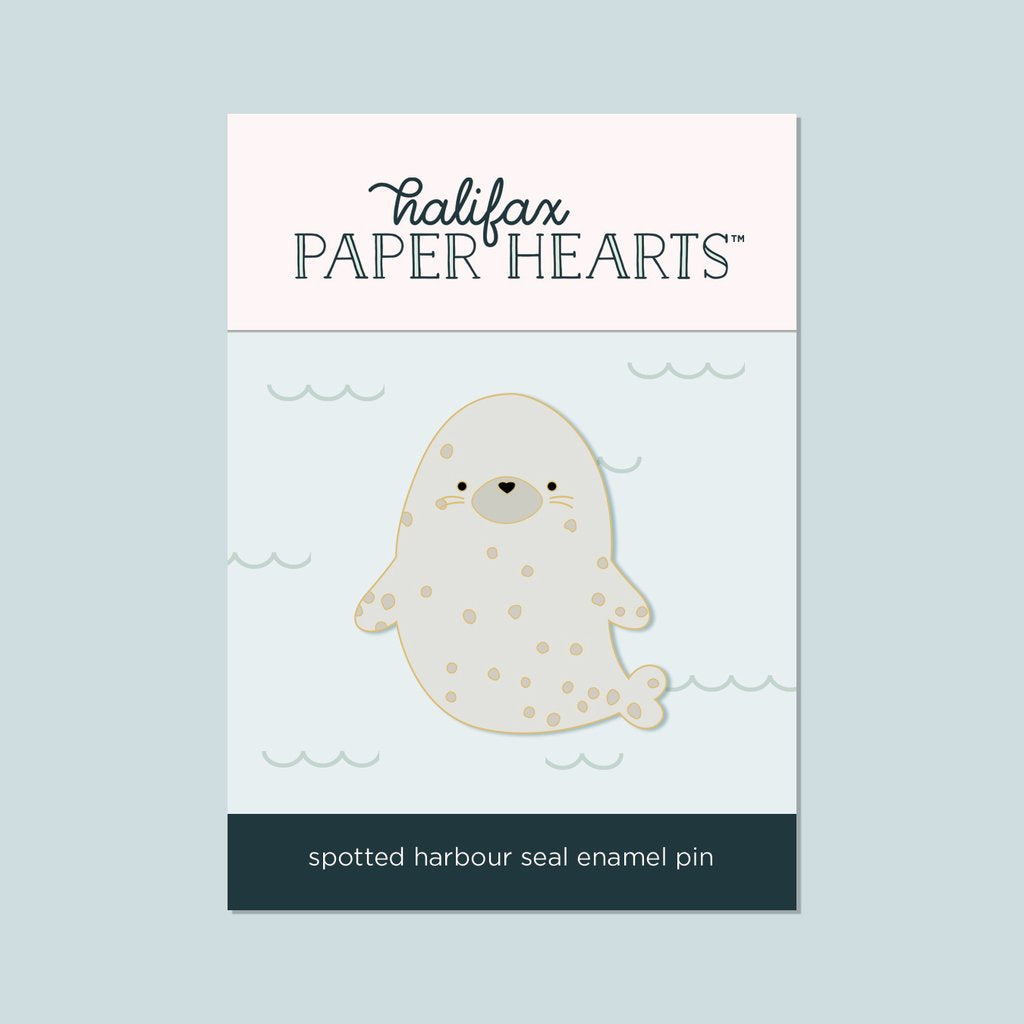 Spotted Harbour Seal Enamel Pin - Halifax Paper Hearts