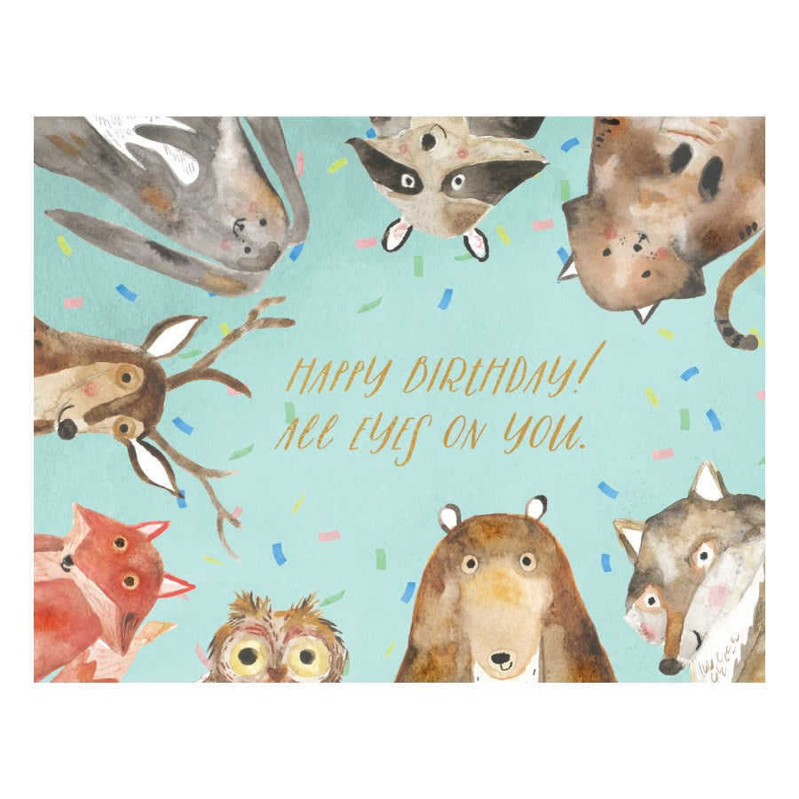 Woodland Critters Eyes on You - Loose Leaves Birthday Card