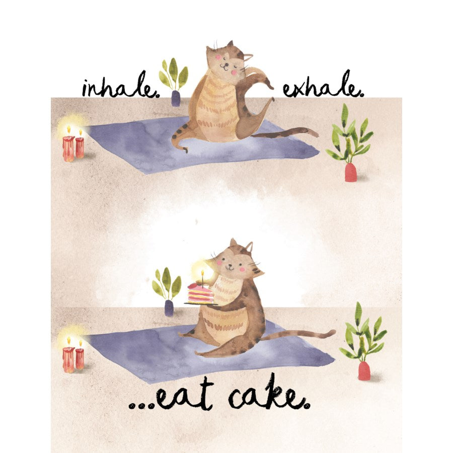 Yoga Cat - Loose Leaves Birthday Card