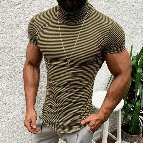 Men High Collar Pinstripe Short Sleeve T-Shirt