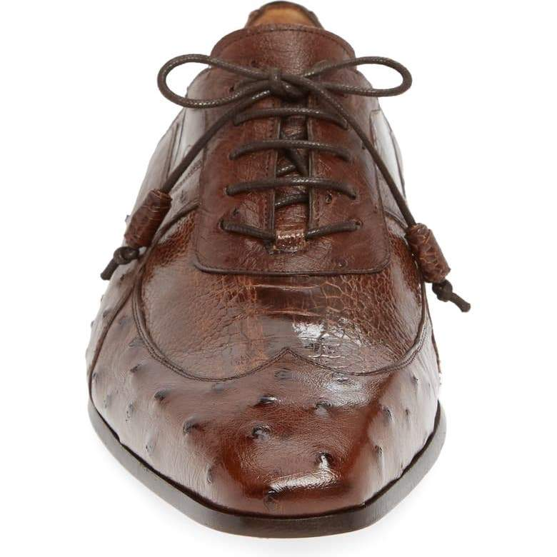 Men's Luxury Ostrich Leather Lace-up Shoes