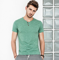 Men's slim casual solid color short-sleeved t-shirt