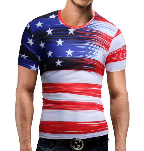Men's Digital Printed American Flag Short Sleeve T-Shirt