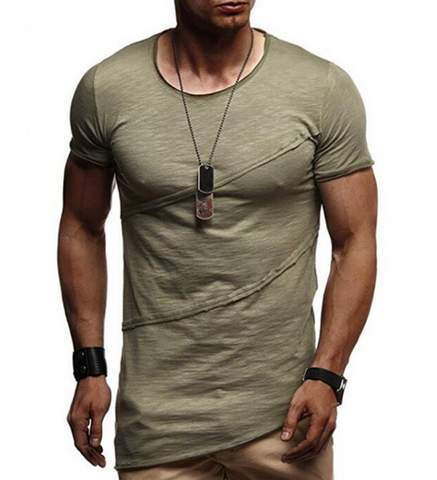 Men's Casual Fashion Pleated Short Sleeve Round Neck T-Shirt