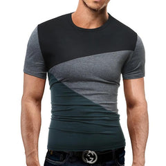 Men's contrast stitching short sleeve T-shirt