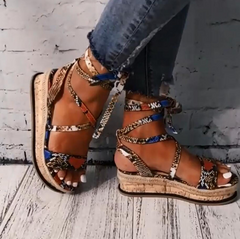 Women's Fashion Summer Snake Printed  Wedges heels Sandals