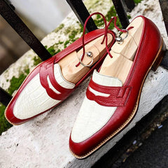 Men's Luxury Handmade Stitching Color-Block Penny Loafers