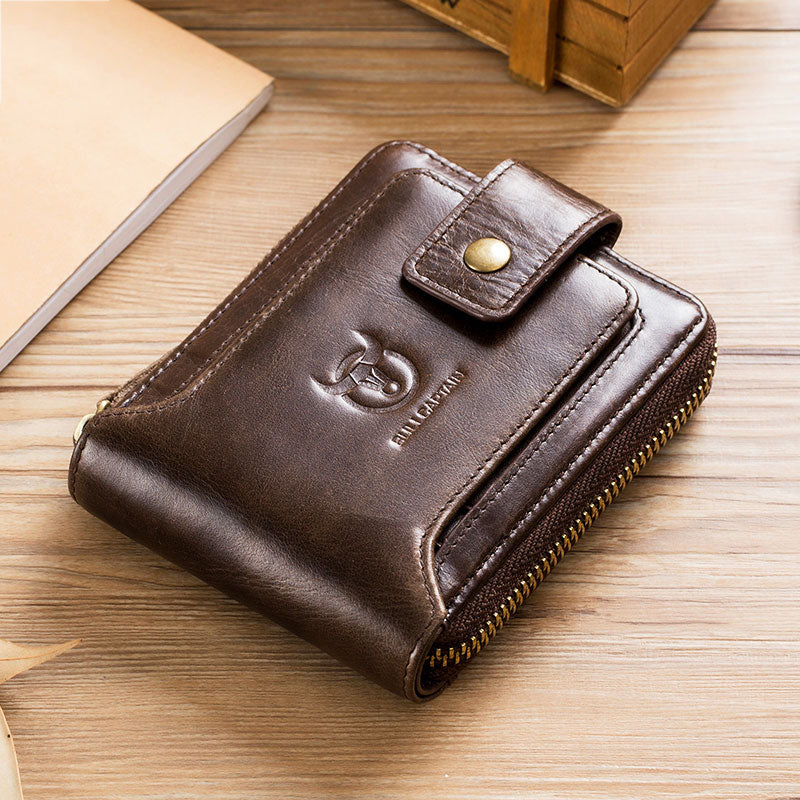 Men's Purse Leather Purse Zipper Wallet