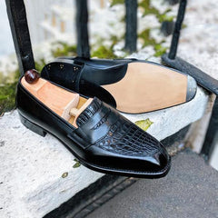 Alligator Leather Slip-On Formal Penny Loafer