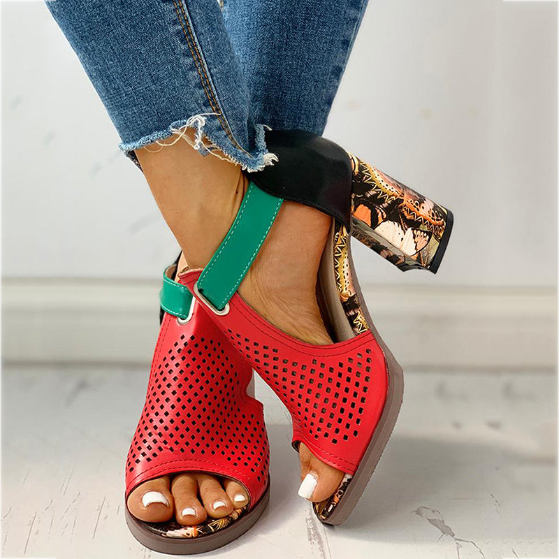 Women's Fashion Square Heels Sandals