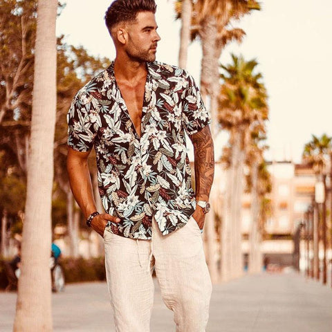 Men's Fashion Casual Lapel Print Beach Hawaiian Shirts