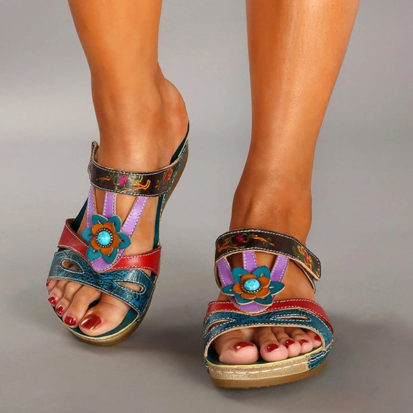 Women's Fashioon Summer Ethnic Style Floral Print Open-toe Slippers