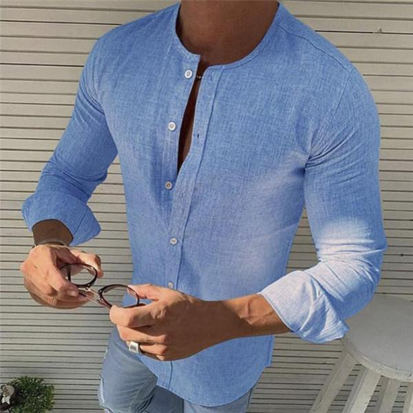 Men's Fashion Round Neck Cotton Linen Casual T-Shirt