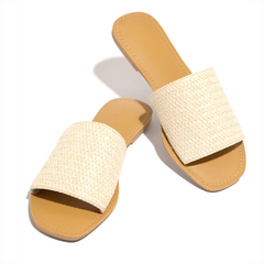 Women's Round Toe Slip-On Woven Rope Knots Beach Slipper