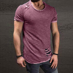Men's Hole Solid T-Shirt Slim Fit O-Neck Short Sleeve