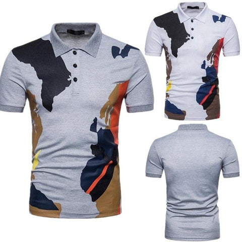 Men Slim Patchwork Printed Lapel Button Casual Short-sleeved Polo T-Shirt