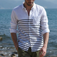 Men's Long Sleeve Button Linen Stripe Printed Retro Shirts