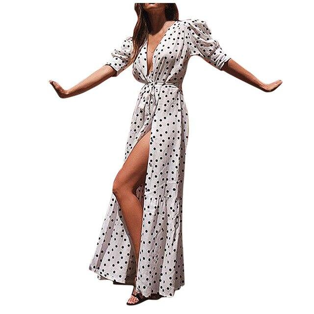 Women Maxi Dress Vintage Dot Print Deep V-neck Dresses