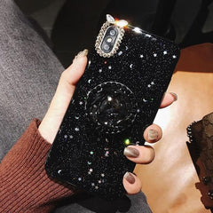 Bling Clear Thin Slim Transparent Diamond Stand Holder Phone Cases